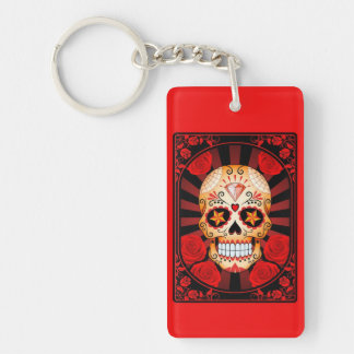 Red Sugar Skull with Roses Poster Acrylic Key Chains