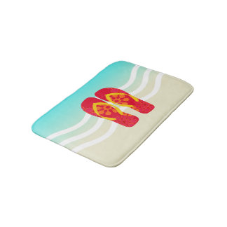 Red Summer Beach Flip Flops Bath Mat