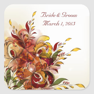 Red Summer Floral Wedding Stickers