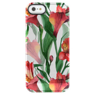 Red Summer Lily Green Leafs Pattern Clear iPhone SE/5/5s Case