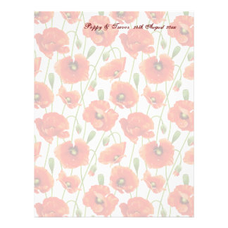Red Summer Poppies Guest Message Paper 21.5 Cm X 28 Cm Flyer