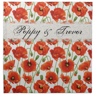 Red Summer Poppies Napkin