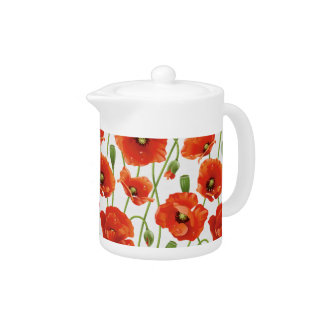 Red Summer Poppies Teapot