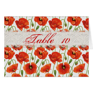 Red Summer Poppies Wedding Seating Card