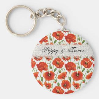 Red Summer Poppy Key Ring