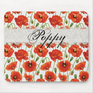 Red Summer Poppy Mouse Mat