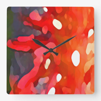 Red Sun Abstract by Amy Vangsgard Square Wall Clock