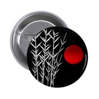 Red sun black white zen 6 cm round badge