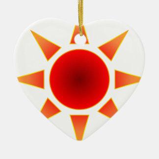 Red Sun Ceramic Heart Decoration