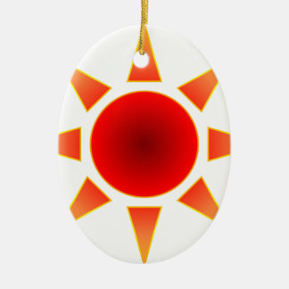 Red Sun Ceramic Oval Decoration