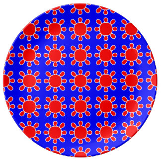 Red sun on blue plate