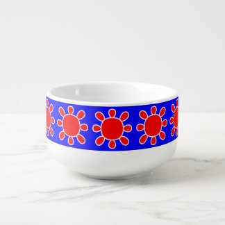 Red sun on blue soup bowl