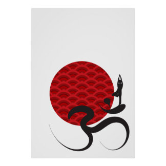 Red Sun Yoga Spiritual Indian Meditate Om Ohm Logo Posters