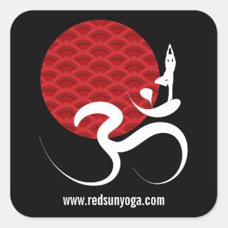 Red Sun Yoga Spiritual Indian Meditate Om Ohm Logo Square Sticker