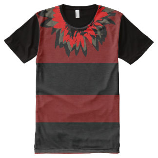 Red Sunflower Accent Collar Red Striped All-Over Print T-Shirt