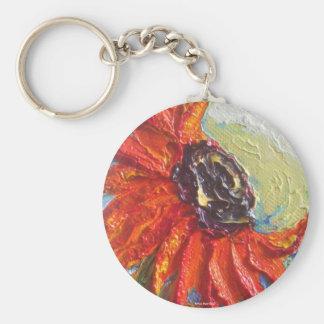 Red Sunflower Basic Round Button Key Ring