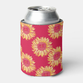 Red Sunflower Coozy Can Cooler