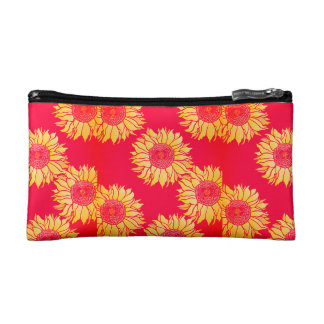 Red Sunflower Cosmetic Bag