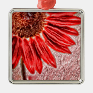 Red Sunflower Sketch Christmas Ornament