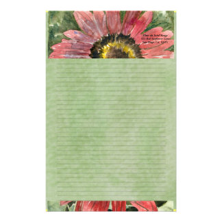 Red Sunflower Watercolor Personalized Stationary Personalized Stationery