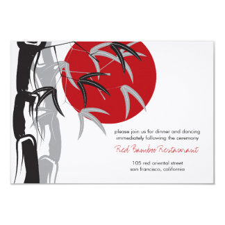 Red Sunrise Bamboo Zen Wedding Reception Card