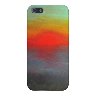 Red Sunrise Pastel Drawing Colorful iPhone 5 Case