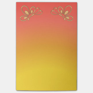 Red Sunset and Gold Butterfly Profiles Post-it Notes