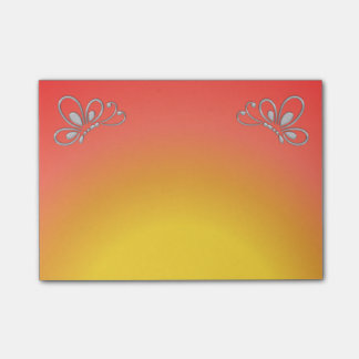 Red Sunset and Silver Butterfly Profile Post-it Notes