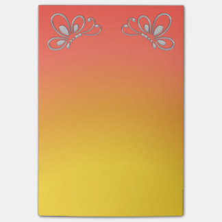 Red Sunset and Silver Butterfly Profiles Post-it® Notes