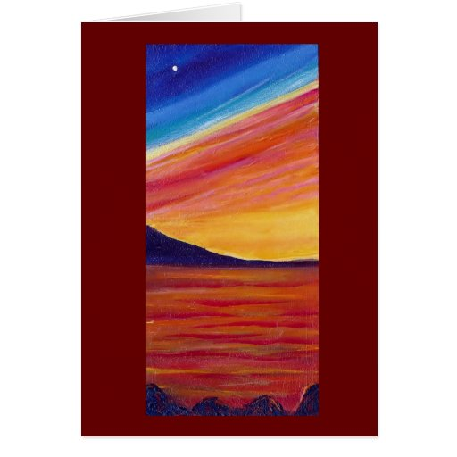 Red Sunset beach Greeting Cards