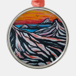 Red sunset christmas ornament
