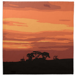 Red Sunset Cloth Napkins