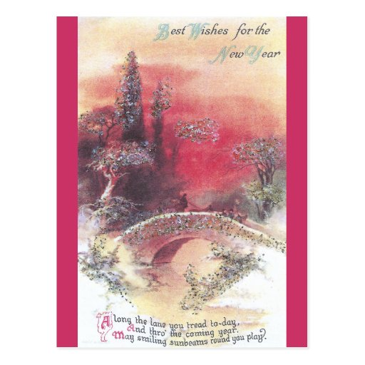 Red Sunset Over Bridge Vintage New Year's Card Postcard