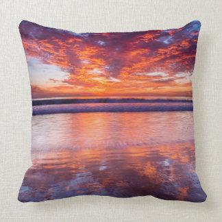 Red sunset over the sea, California Cushion