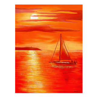 Red Sunset Postcard