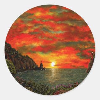 Red Sunset Round Sticker