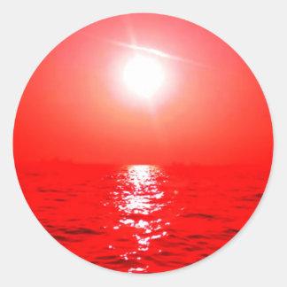 Red Sunset Seascape Round Sticker