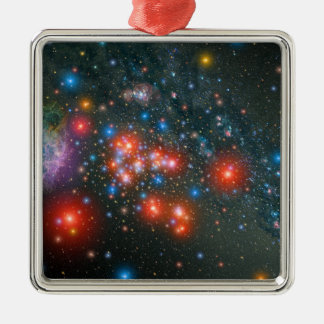 Red Super Giant Cluster Silver-Colored Square Decoration