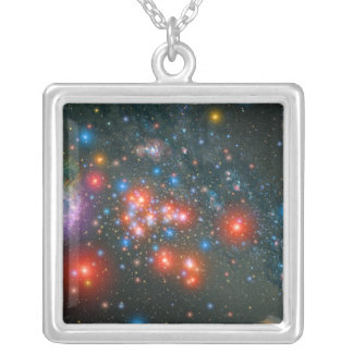 Red Super Giant Cluster Silver Plated Necklace