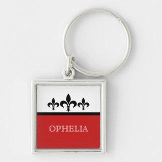 Red Swanky Fleur De Lis Premium Keychain