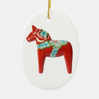 Red Swedish Dala Horse Christmas Ornament