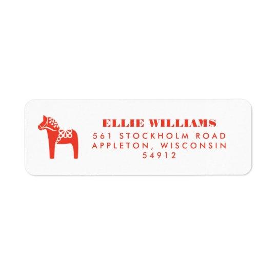 Red Swedish Dala Horse Holiday Return Address