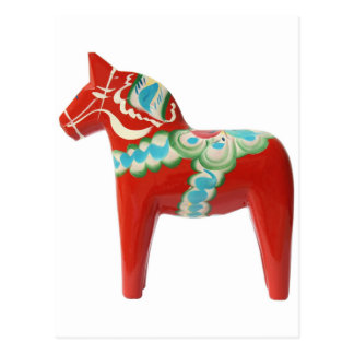 Red Swedish Dala Horse Postcard