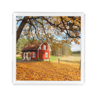 Red Swedish House Amongst Autumn Leaves Acrylic Tray