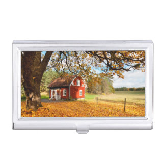 Red Swedish House Amongst Autumn Leaves Case For Business Cards