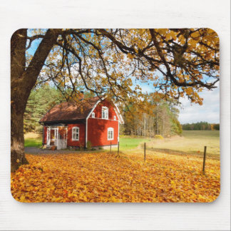 Red Swedish House Amongst Autumn Leaves Mouse Pad