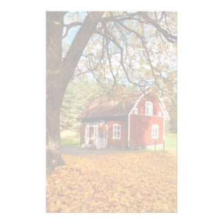 Red Swedish House Amongst Autumn Leaves Stationery
