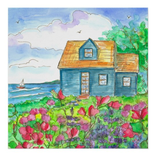 Red Sweet Peas Seaside Cottage Watercolor Poster