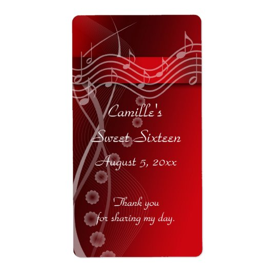 Red Sweet Sixteen Water Bottle Label Shipping Label
