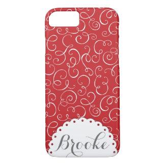 Red Swirl Custom Name Decorative Case